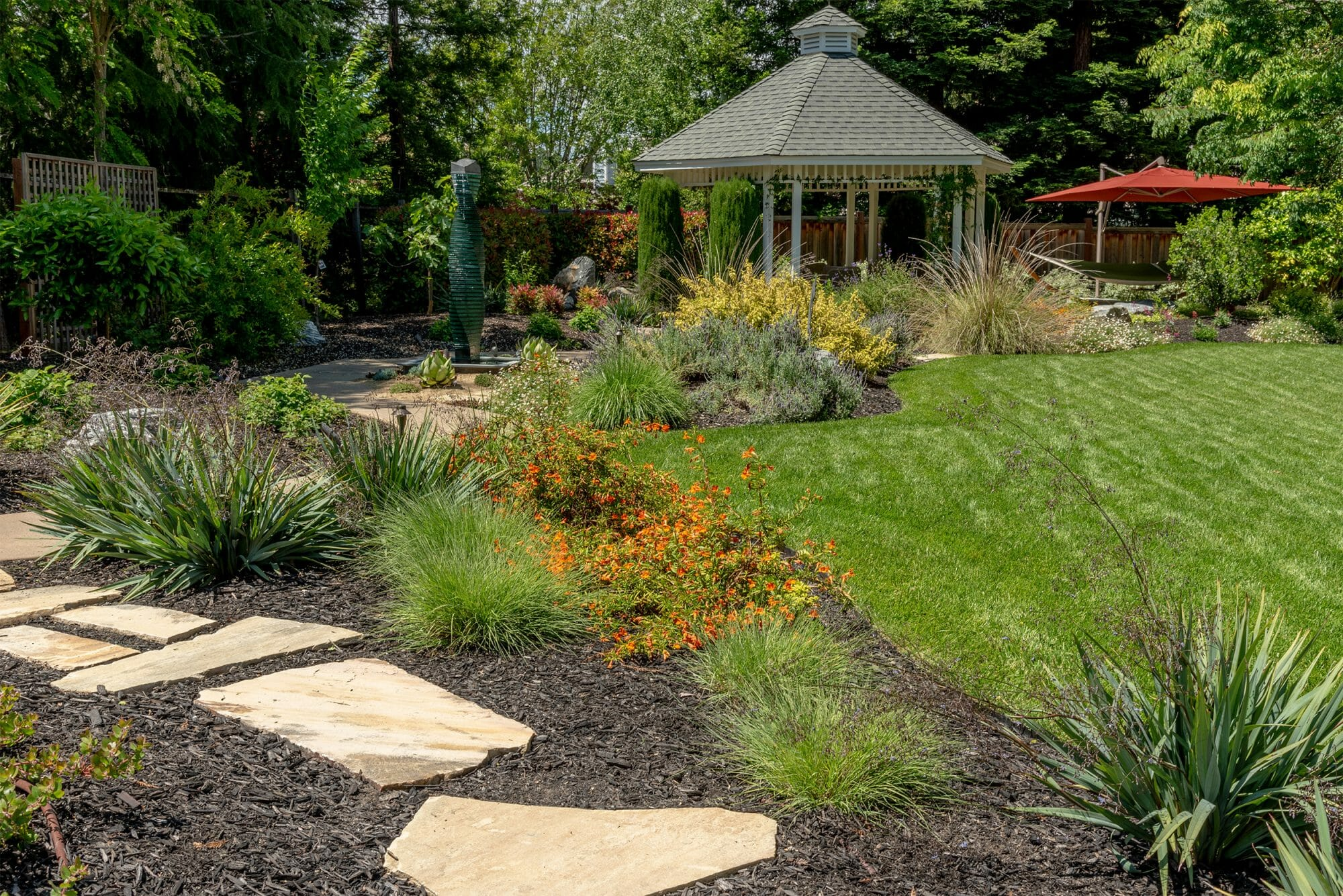 Flagstone path with grasses