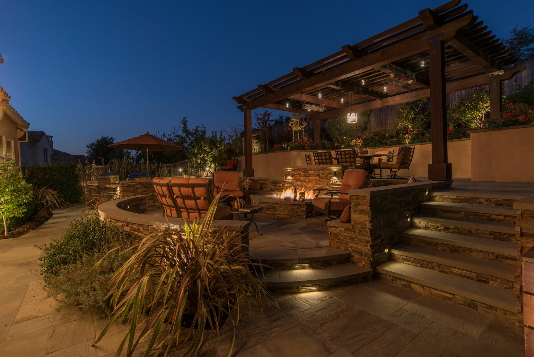 lit patio and pergola