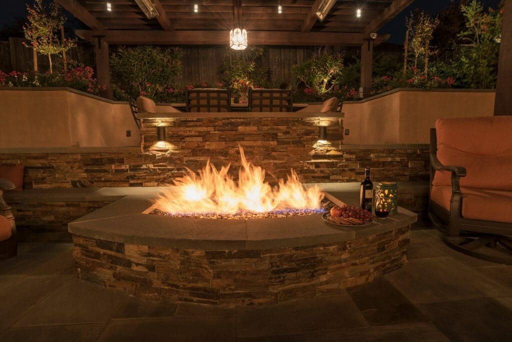 fire pit with lights